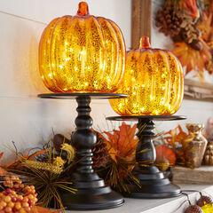 """14½"""" Pre-Lit Glass Pumpkin on Metal Stand,"""