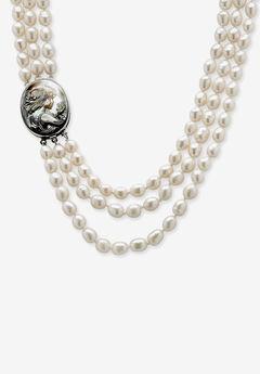 "Silver Tone Multi Strand Cameo Necklace Cultured Freshwater Pearl 28"","