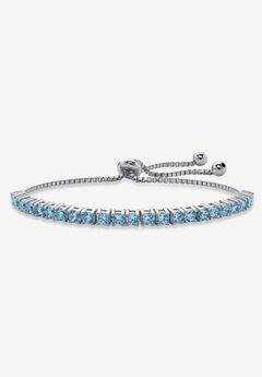 "Silver Tone Bolo Bracelet (4mm), Simulated Birthstone 9.25"" Adjustable,"