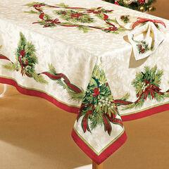 "Christmas Ribbons Tablecloth 60"" x 104"","