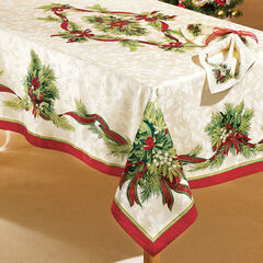 """Christmas Ribbons Tablecloth 70""""Round,"""