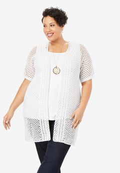 Crochet Long Cardigan, WHITE