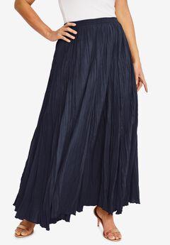 Cotton Crinkled Maxi Skirt, NAVY