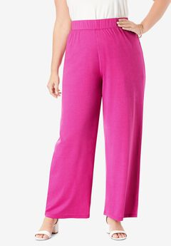 Everyday Stretch Knit Palazzo Pant, TROPICAL RASPBERRY