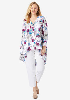 Hi-Low Georgette Tunic, WHITE FLORAL