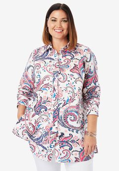 Long Sleeve Collared Poplin Tunic, WHITE PAISLEY