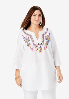 Linen V-Neck Tunic, FOLK FLOWER PAISLEY