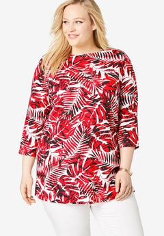 Boatneck Tunic, HOT RED PALM