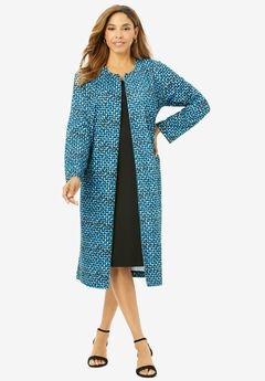Ponte Jacket Dress, TURQUOISE TEXTURE