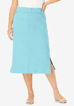 Comfort Waist Midi Skirt, LIGHT AQUA