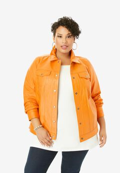 Denim Style Leather Jacket, BRIGHT MELON