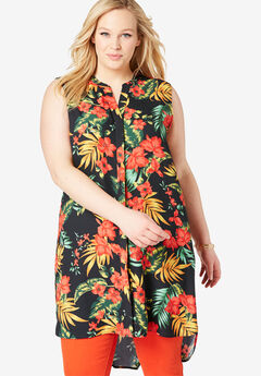 Sleeveless Mega Tunic, BLACK TROPICAL BOUQUET