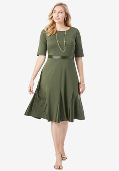 Ponte Fit & Flare Dress, DARK OLIVE GREEN