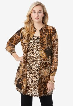 Georgette Button Front Tunic, BROWN PAISLEY ANIMAL