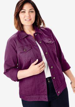 Classic Cotton Denim Jacket, PURPLE TULIP