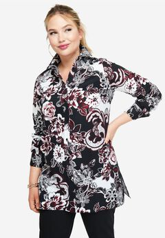 Long Sleeve Collared Poplin Tunic, BLACK BOLD FLORAL