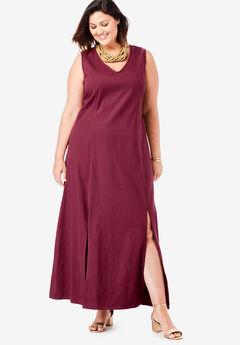Denim A-Line Maxi Dress, MERLOT