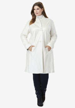 Leather Swing Coat, PEARLIZED IVORY