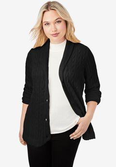 Cable Blazer Sweater, BLACK