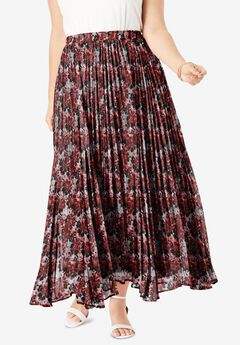 Pleated Maxi Skirt, CLASSIC RED FLORAL PLAID