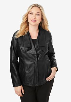 Drape-Front Leather Jacket, BLACK