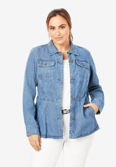 Button Front Peplum Denim Jacket,