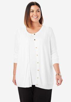 Classic Cardigan Sweater, WHITE