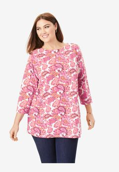 Boatneck Tunic, PINK GRAPHIC PAISLEY