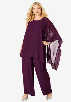 2-Piece Pant Set, DARK BERRY