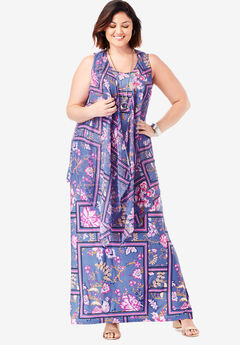 Travel Knit Maxi Dress & Vest Set, BLUE VIOLET FLORAL SCARF