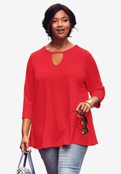 Keyhole Swing Tunic, CORAL RUBY