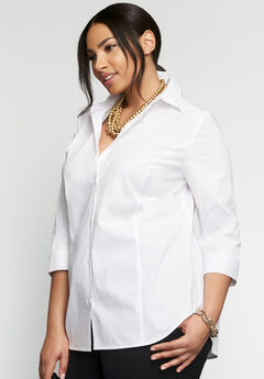 Three-Quarter Sleeve Poplin Shirt, WHITE