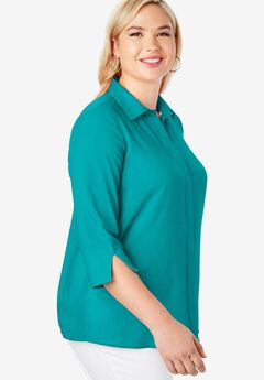 Soft Button Front Shirt, JADE