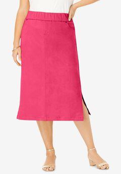 Comfort Waist Midi Skirt, PINK BURST