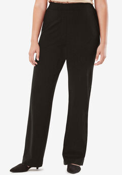 Wide Leg Trousers in Ponte Knit, BLACK