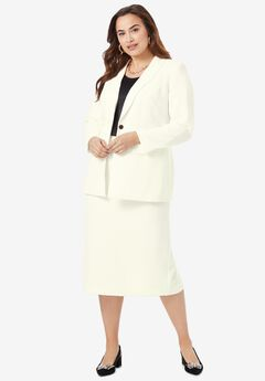 Single-Breasted Skirt Suit, IVORY