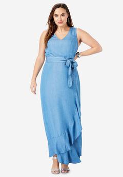 Sleeveless Faux Wrap Tencel® Maxi Dress, LIGHT WASH