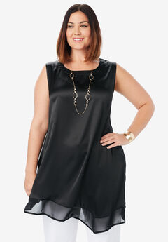 Satin Asymmetric Tunic, BLACK