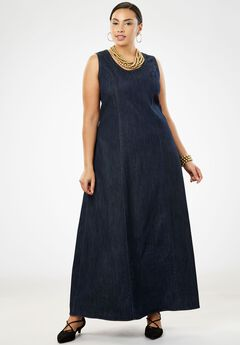 Denim Maxi Dress, INDIGO