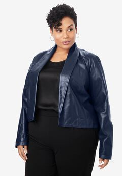 Leather Shrug, NAVY