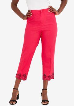 Stretch Poplin Straight-Leg Crop Pant, PINK BURST EMBROIDERY