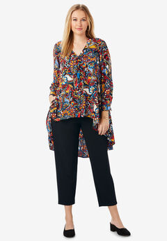 Hi-Low Georgette Tunic, BLACK PAINTED PAISLEY