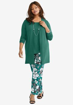 Open-Front Cardigan, DARK EMERALD
