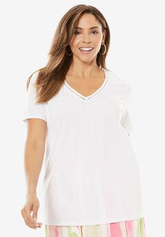 Linen V-Neck Tunic, WHITE