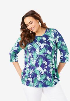 Swing Tunic, BLUE HAWAIIAN GARDEN