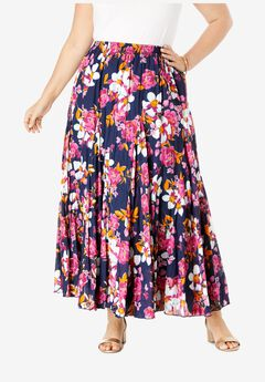 Cotton Crinkled Maxi Skirt, NAVY FLORAL GARDEN
