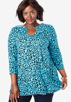 Keyhole Swing Tunic, TURQ GRAPHIC LEOPARD