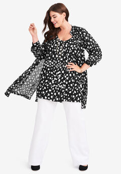 Georgette Button Front Tunic, BLACK VERTICAL PAINT BRUSH
