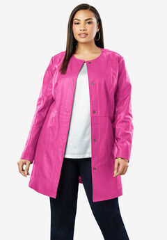 Three-Quarter Leather Jacket, TROPICAL RASPBERRY