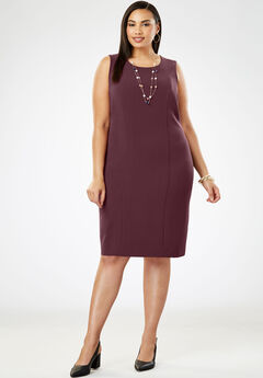 Bi-Stretch Sheath Dress, DEEP MERLOT